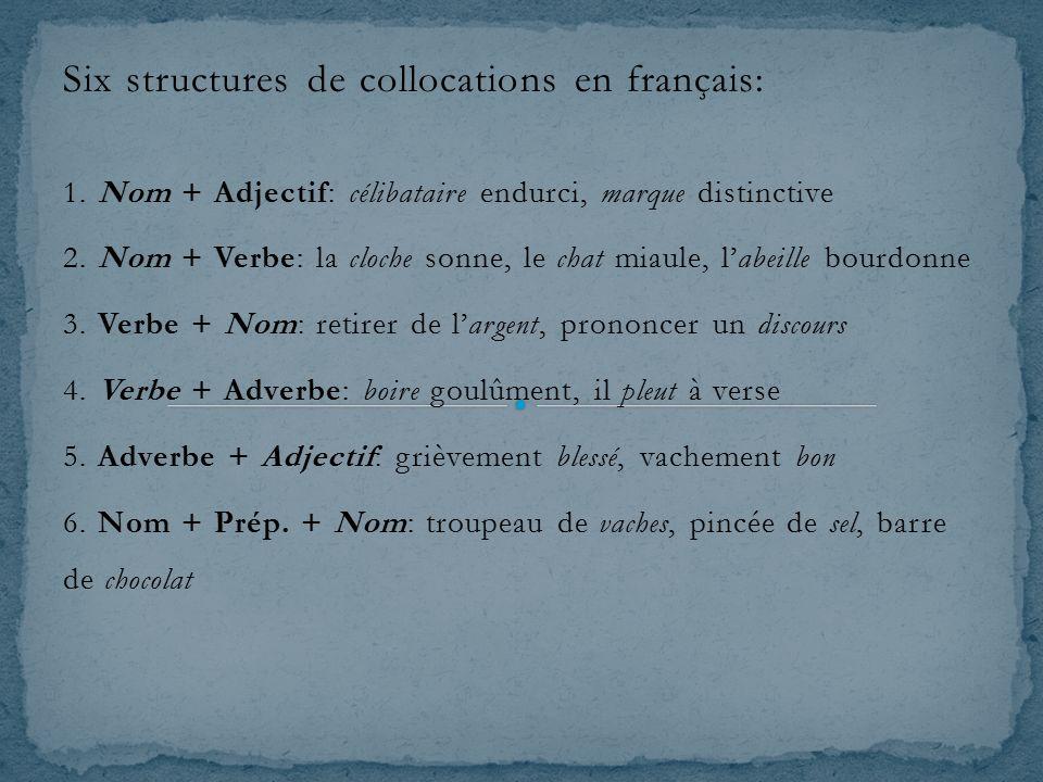 Six structures de collocations en français: 1. Nom + Adjectif: célibataire endurci, marque distinctive 2. Nom + Verbe: la cloche sonne, le chat miaule