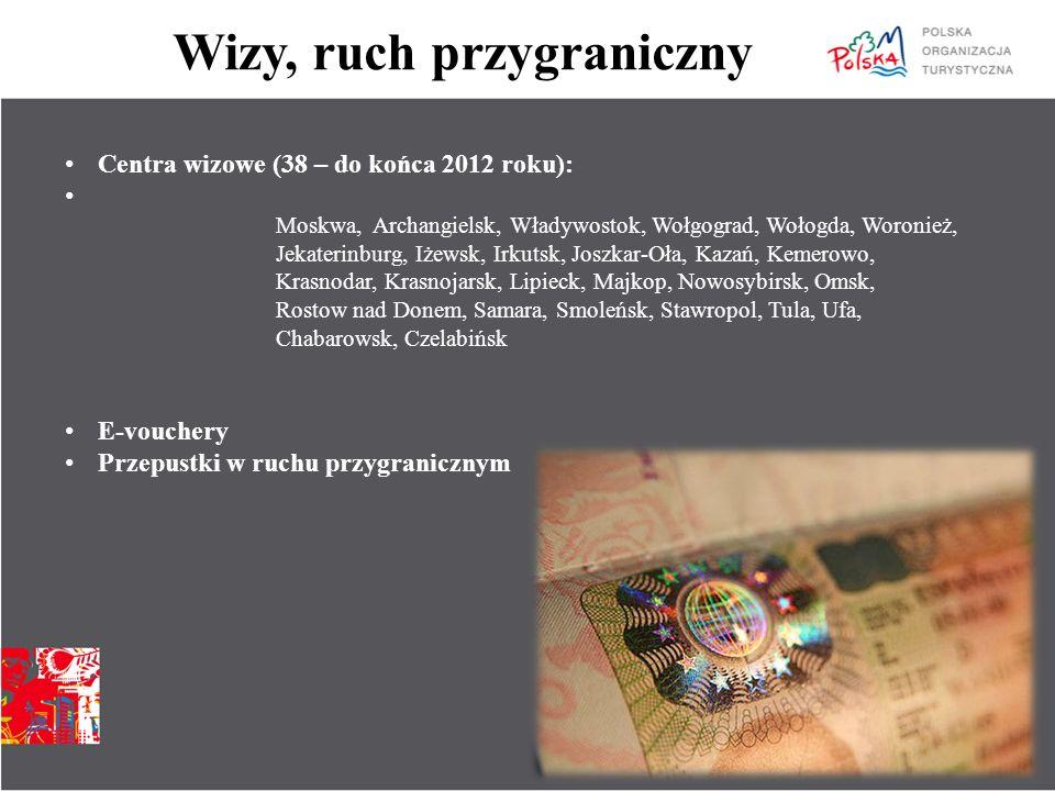 Wizy, ruch przygraniczny Centra wizowe (38 – do końca 2012 roku): Moskwa, Archangielsk, Władywostok, Wołgograd, Wołogda, Woronież, Jekaterinburg, Iżew