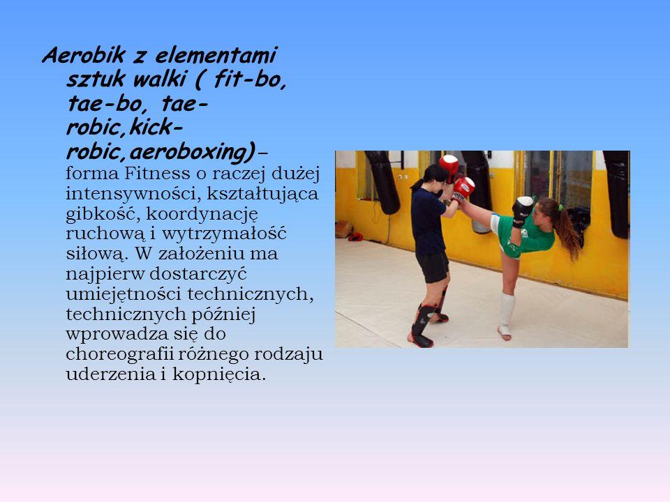 Aerobik z elementami sztuk walki ( fit-bo, tae-bo, tae- robic,kick- robic,aeroboxing) – forma Fitness o raczej dużej intensywności, kształtująca gibkość, koordynację ruchową i wytrzymałość siłową.