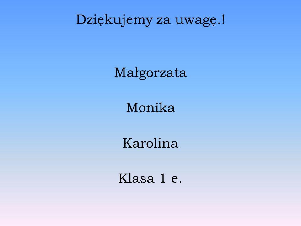 Dziękujemy za uwagę.! Małgorzata Monika Karolina Klasa 1 e.