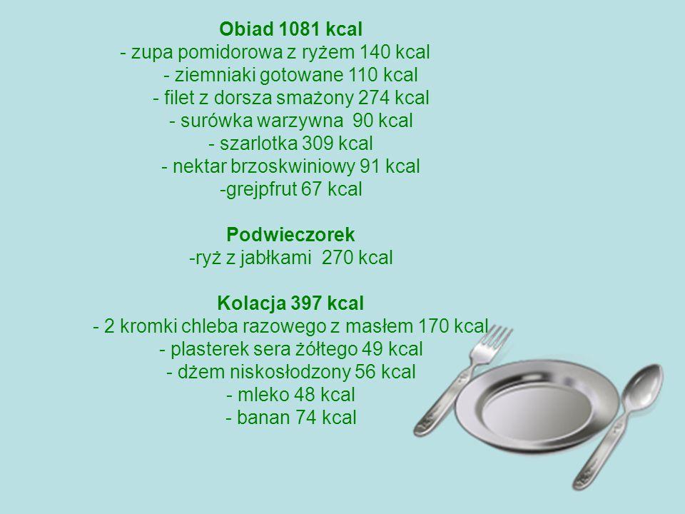 Obiad 1081 kcal - zupa pomidorowa z ryżem 140 kcal - ziemniaki gotowane 110 kcal - filet z dorsza smażony 274 kcal - surówka warzywna 90 kcal - szarlo