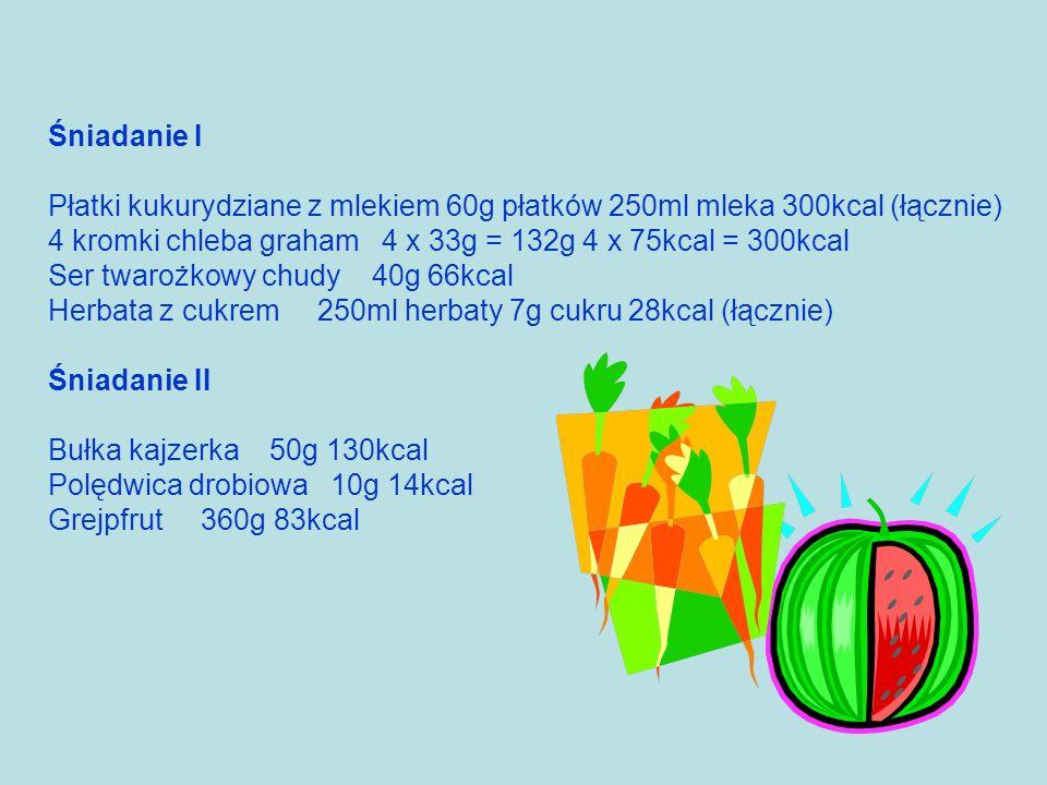 Śniadanie I Płatki kukurydziane z mlekiem 60g płatków 250ml mleka 300kcal (łącznie) 4 kromki chleba graham 4 x 33g = 132g 4 x 75kcal = 300kcal Ser twa
