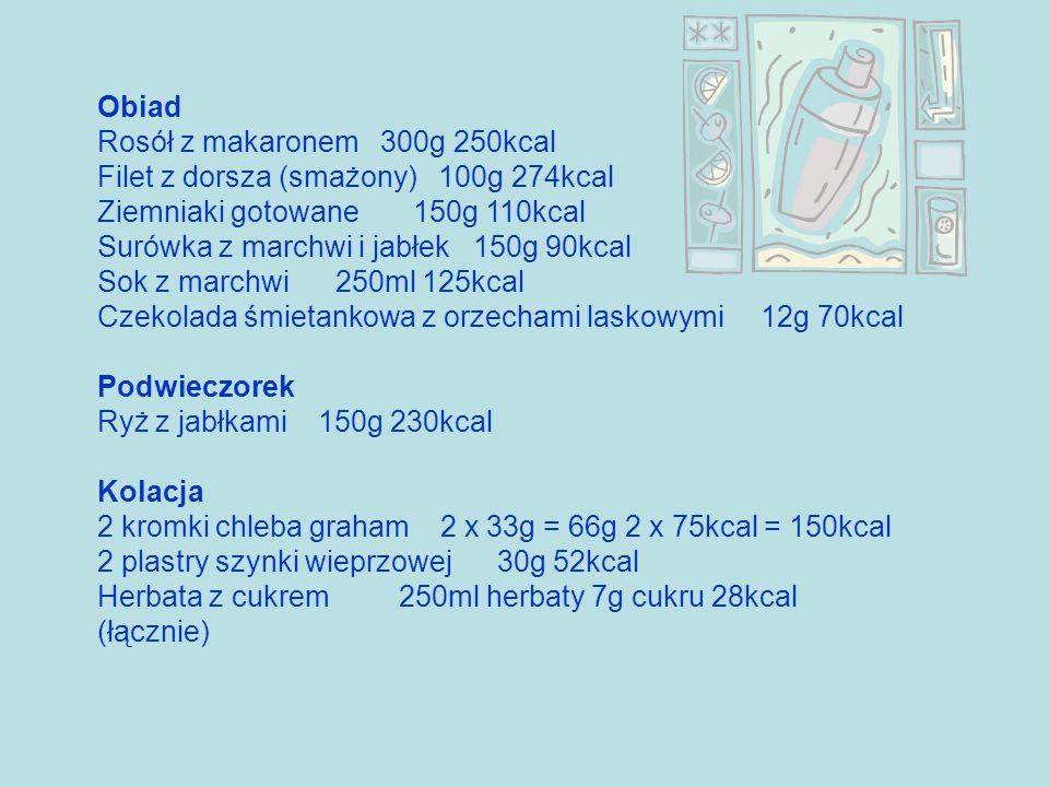 Obiad Rosół z makaronem 300g 250kcal Filet z dorsza (smażony) 100g 274kcal Ziemniaki gotowane 150g 110kcal Surówka z marchwi i jabłek 150g 90kcal Sok