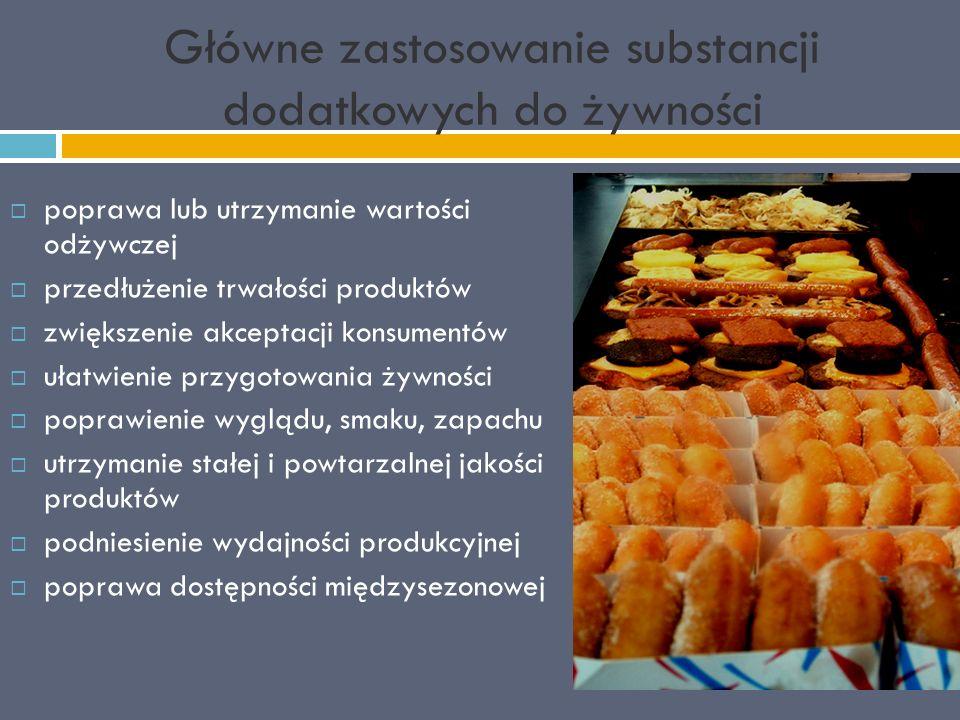 Główne zastosowanie substancji dodatkowych do żywności  poprawa lub utrzymanie wartości odżywczej  przedłużenie trwałości produktów  zwiększenie akceptacji konsumentów  ułatwienie przygotowania żywności  poprawienie wyglądu, smaku, zapachu  utrzymanie stałej i powtarzalnej jakości produktów  podniesienie wydajności produkcyjnej  poprawa dostępności międzysezonowej