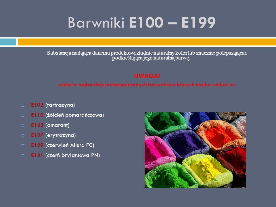Barwniki E100 – E199 Substancja nadająca danemu produktowi złudnie naturalny kolor lub znacznie polepszająca i podkreślająca jego naturalną barwę. UWA
