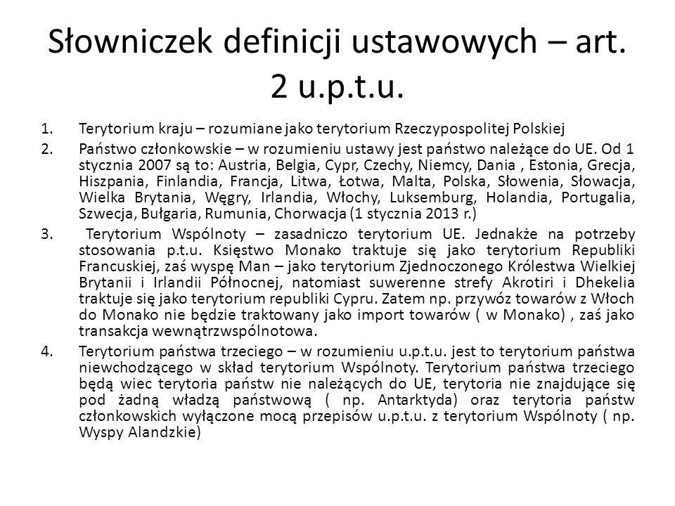 Słowniczek definicji ustawowych – art. 2 u.p.t.u.