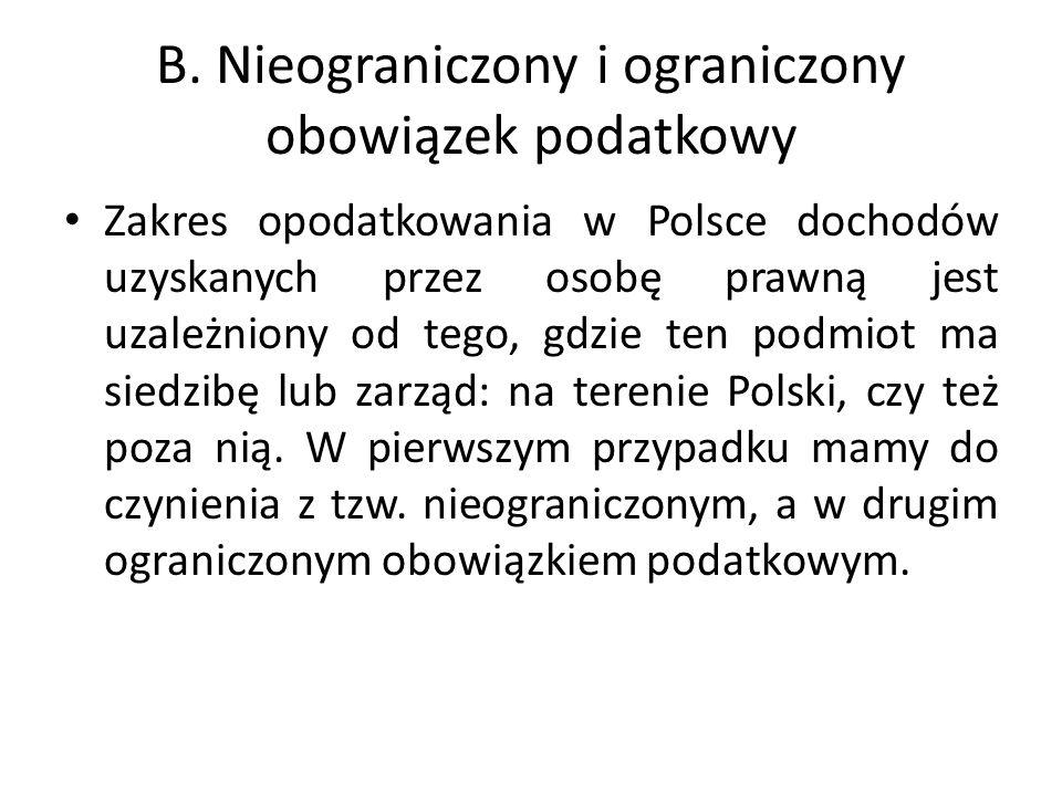 B. Nieograniczony i ograniczony obowiązek podatkowy Zakres opodatkowania w Polsce dochodów uzyskanych przez osobę prawną jest uzależniony od tego, gdz