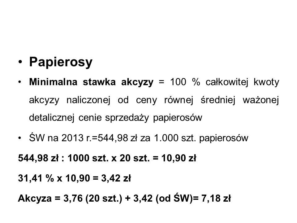 Papierosy Minimalna stawka akcyzy = 100 % całkowitej kwoty akcyzy naliczonej od ceny równej średniej ważonej detalicznej cenie sprzedaży papierosów ŚW na 2013 r.=544,98 zł za 1.000 szt.