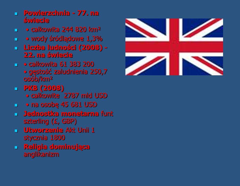 Great Britain, United Kingdom, England, Britain Najważniejsze informacje o Wielkiej Brytanii Język urzędowy angielski Język urzędowy angielski Język u