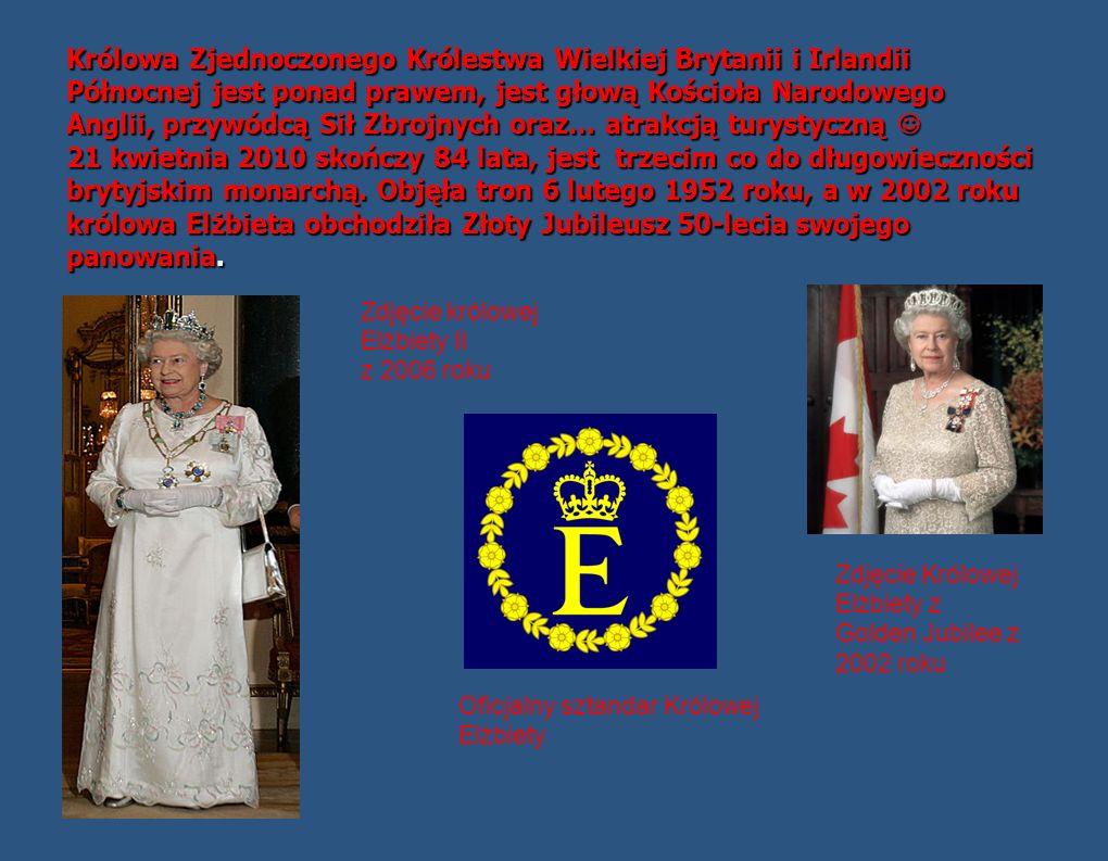 Królowa Zjednoczonego Królestwa Wielkiej Brytanii i Irlandii Północnej jest ponad prawem, jest głową Kościoła Narodowego Anglii, przywódcą Sił Zbrojnych oraz… atrakcją turystyczną 21 kwietnia 2010 skończy 84 lata, jest trzecim co do długowieczności brytyjskim monarchą.