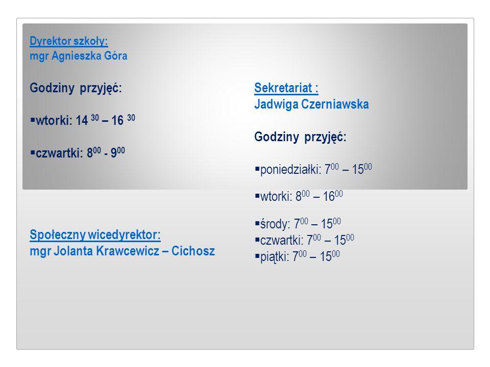 Dyrektor szkoły: mgr Agnieszka Góra Godziny przyjęć:  wtorki: 14 30 – 16 30  czwartki: 8 00 - 9 00 Społeczny wicedyrektor: mgr Jolanta Krawcewicz –