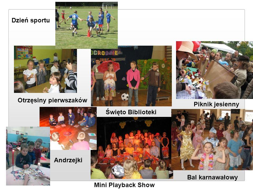 Otrzęsiny pierwszaków Piknik jesienny Święto Biblioteki Andrzejki Mini Playback Show Bal karnawałowy Dzień sportu