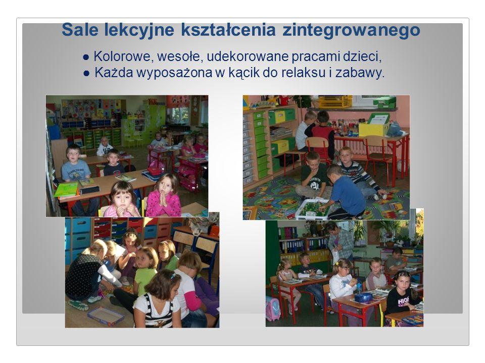 Sale lekcyjne kształcenia zintegrowanego ● Kolorowe, wesołe, udekorowane pracami dzieci, ● Każda wyposażona w kącik do relaksu i zabawy.