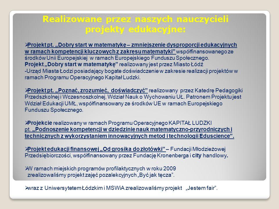 Realizowane przez naszych nauczycieli projekty edukacyjne:  Projekt pt.