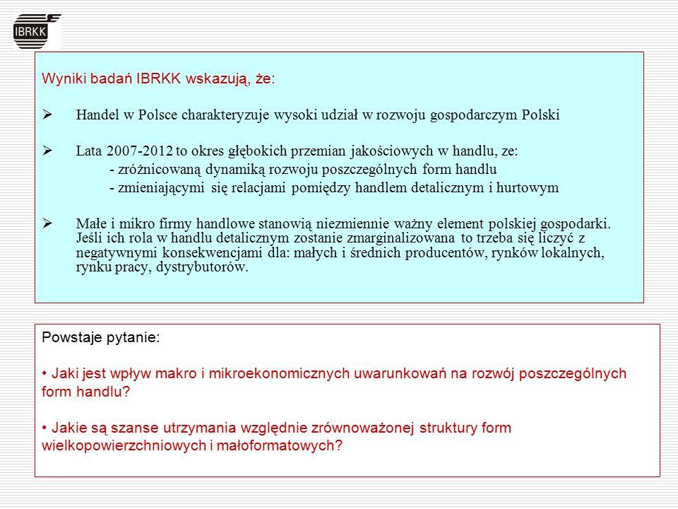 Wyniki badań IBRKK wskazują, że:  Handel w Polsce charakteryzuje wysoki udział w rozwoju gospodarczym Polski  Lata 2007-2012 to okres głębokich prze
