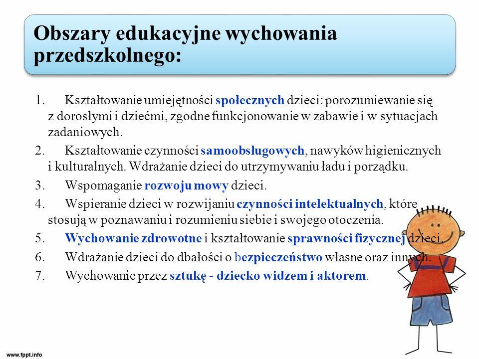 1. Kształtowanie umiejętności społecznych dzieci: porozumiewanie się z dorosłymi i dziećmi, zgodne funkcjonowanie w zabawie i w sytuacjach zadaniowych