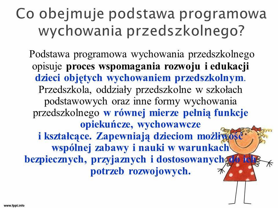 Podstawa programowa wychowania przedszkolnego opisuje proces wspomagania rozwoju i edukacji dzieci objętych wychowaniem przedszkolnym.
