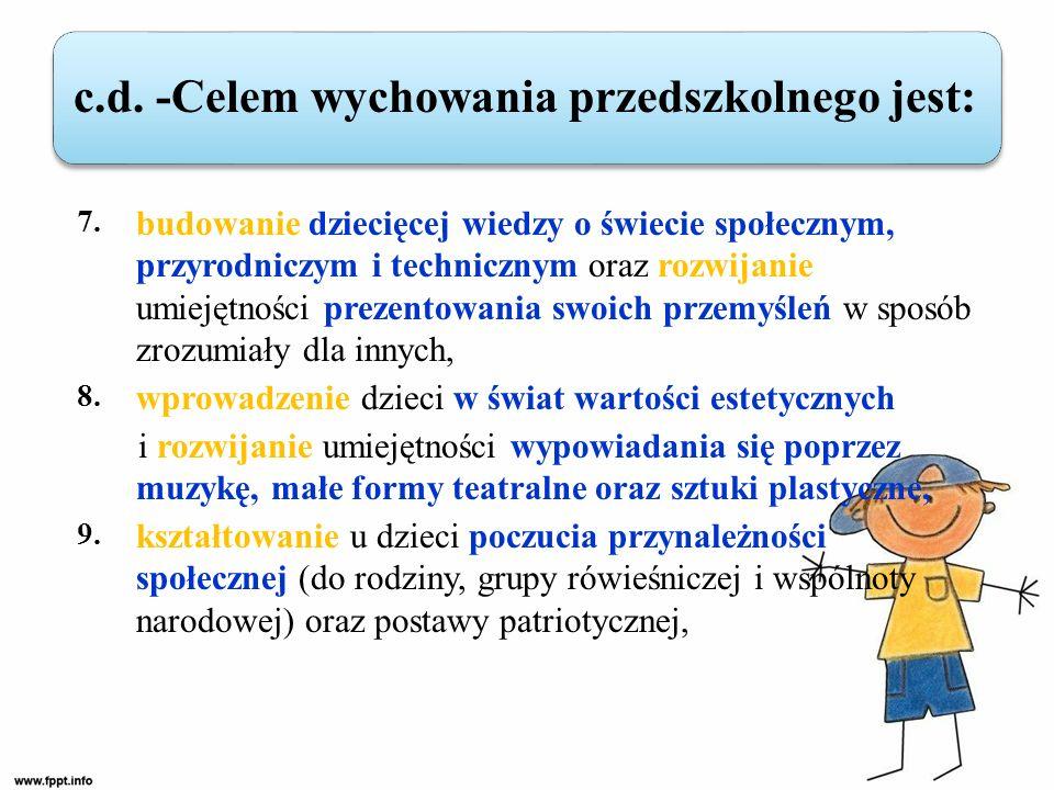 7. budowanie dziecięcej wiedzy o świecie społecznym, przyrodniczym i technicznym oraz rozwijanie umiejętności prezentowania swoich przemyśleń w sposób