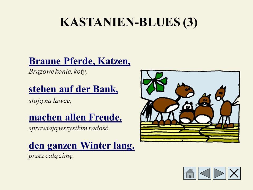 Braune Pferde, Katzen, stehen auf der Bank, machen allen Freude. den ganzen Winter lang. stoją na ławce, sprawiają wszystkim radość przez całą zimę. B