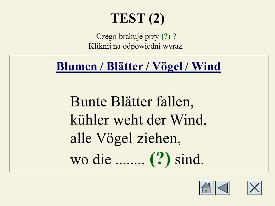 Czego brakuje przy (?) ? Kliknij na odpowiedni wyraz. Blumen / Blätter / Vögel / Wind Bunte Blätter fallen, kühler weht der Wind, alle........ (?) zie
