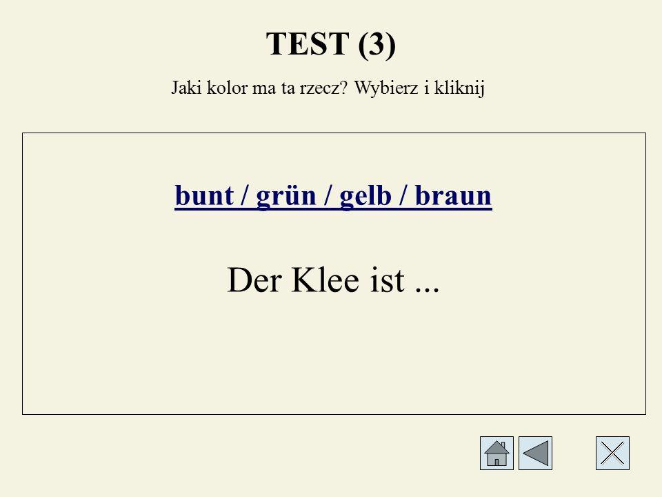 weiß / schwarz / gelb / braun Der Schnee ist... Jaki kolor ma ta rzecz? Wybierz i kliknij TEST (3)