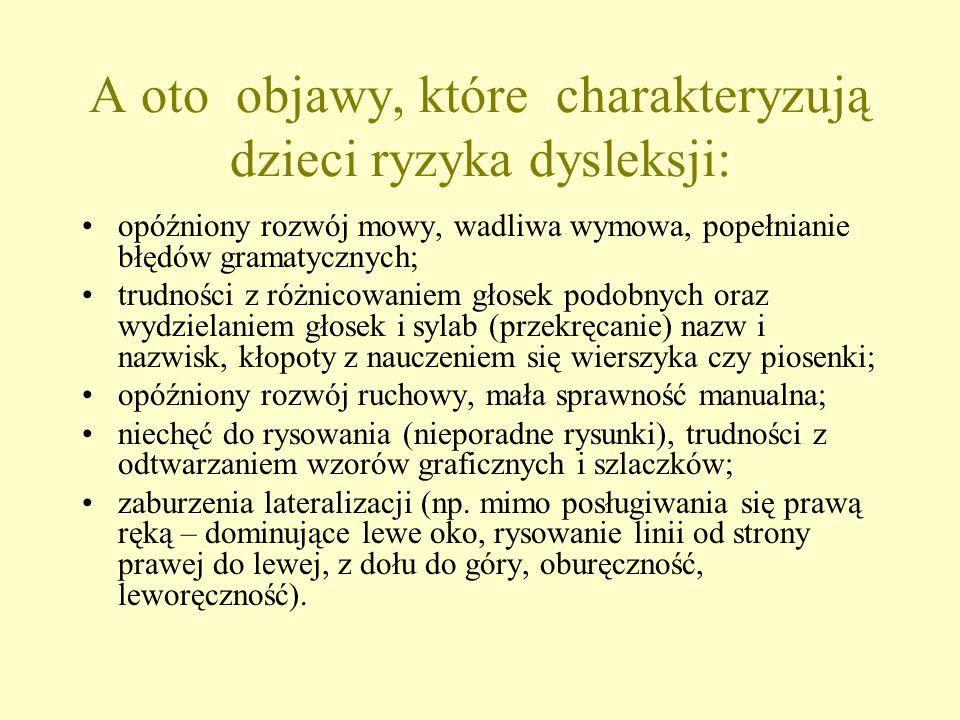 opóźniony rozwój mowy, wadliwa wymowa, popełnianie błędów gramatycznych; trudności z różnicowaniem głosek podobnych oraz wydzielaniem głosek i sylab (