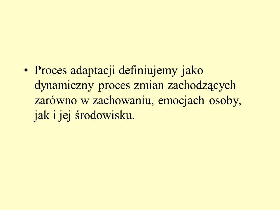 Proces adaptacji definiujemy jako dynamiczny proces zmian zachodzących zarówno w zachowaniu, emocjach osoby, jak i jej środowisku.