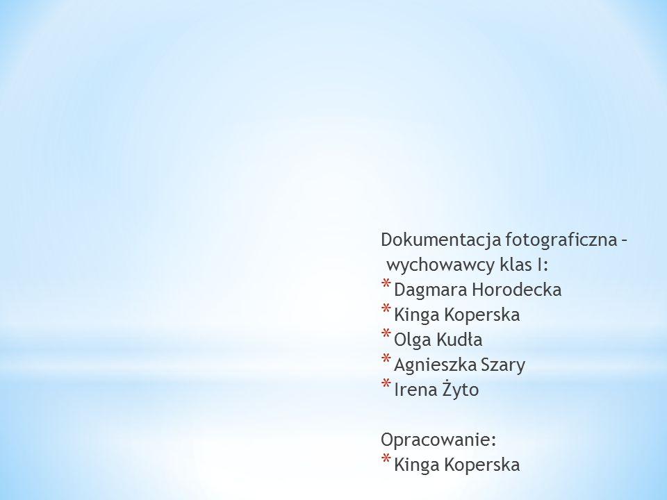 Dokumentacja fotograficzna – wychowawcy klas I: * Dagmara Horodecka * Kinga Koperska * Olga Kudła * Agnieszka Szary * Irena Żyto Opracowanie: * Kinga Koperska