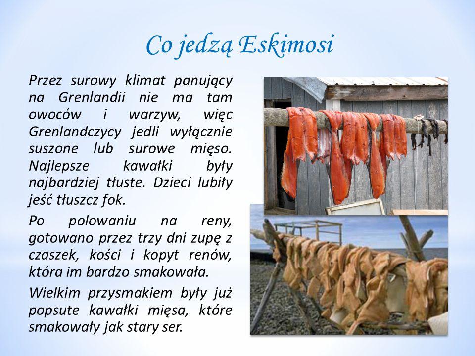 Co jedzą Eskimosi Przez surowy klimat panujący na Grenlandii nie ma tam owoców i warzyw, więc Grenlandczycy jedli wyłącznie suszone lub surowe mięso.