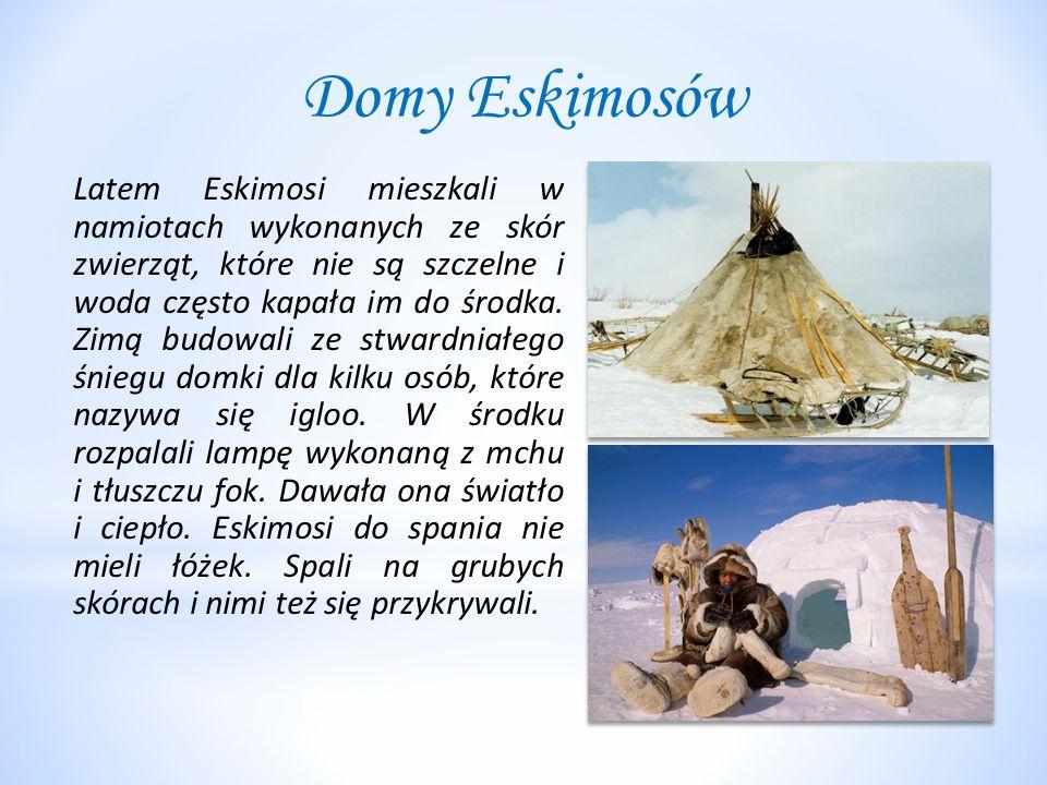 Domy Eskimosów Latem Eskimosi mieszkali w namiotach wykonanych ze skór zwierząt, które nie są szczelne i woda często kapała im do środka. Zimą budowal
