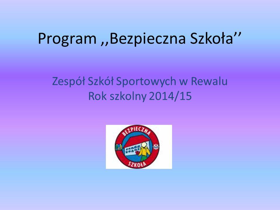 Program,,Bezpieczna Szkoła'' Zespół Szkół Sportowych w Rewalu Rok szkolny 2014/15