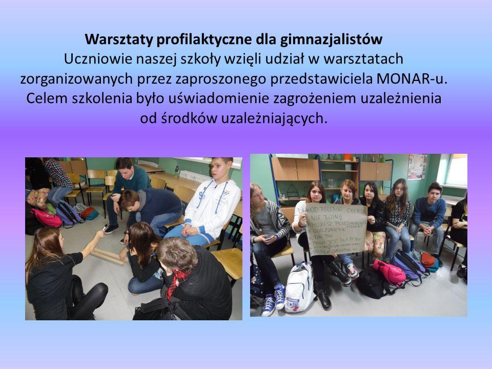 Warsztaty profilaktyczne dla gimnazjalistów Uczniowie naszej szkoły wzięli udział w warsztatach zorganizowanych przez zaproszonego przedstawiciela MONAR-u.