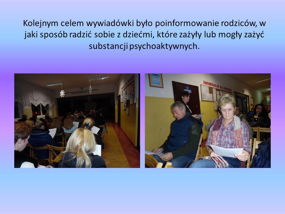 Kolejnym celem wywiadówki było poinformowanie rodziców, w jaki sposób radzić sobie z dziećmi, które zażyły lub mogły zażyć substancji psychoaktywnych.
