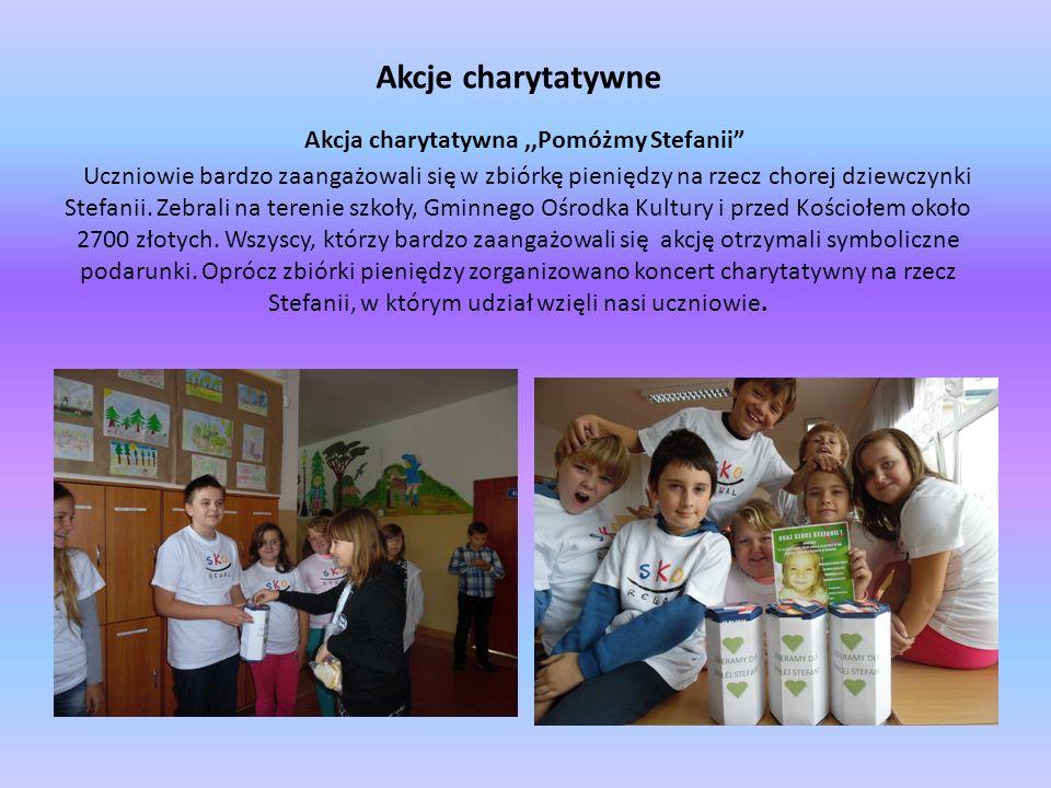 """Akcje charytatywne Akcja charytatywna,,Pomóżmy Stefanii"""" Uczniowie bardzo zaangażowali się w zbiórkę pieniędzy na rzecz chorej dziewczynki Stefanii. Z"""