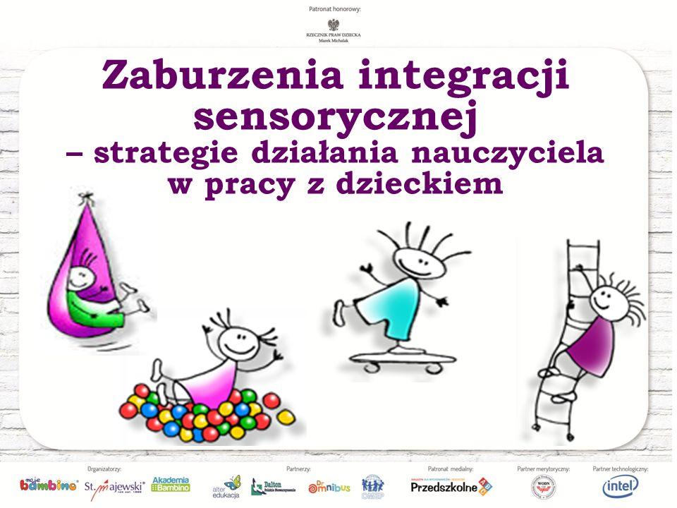 Formy zaburzeń integracji sensorycznej Nadwrażliwość sensoryczna – polega na odczuwaniu wszystkich zmysłowych doznań z dużą intensywnością oraz unikaniu wrażeń sensorycznych (dziecko przestymulowane) Podwrażliwość sensoryczna – polega na poszukiwaniu wrażeń zmysłowych (dziecko niedostymulowane) Warto poznać reakcje poszczególnych uczniów na wrażenia odbierane różnymi zmysłami.
