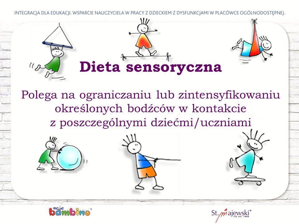 Dieta sensoryczna Polega na ograniczaniu lub zintensyfikowaniu określonych bodźców w kontakcie z poszczególnymi dziećmi/uczniami