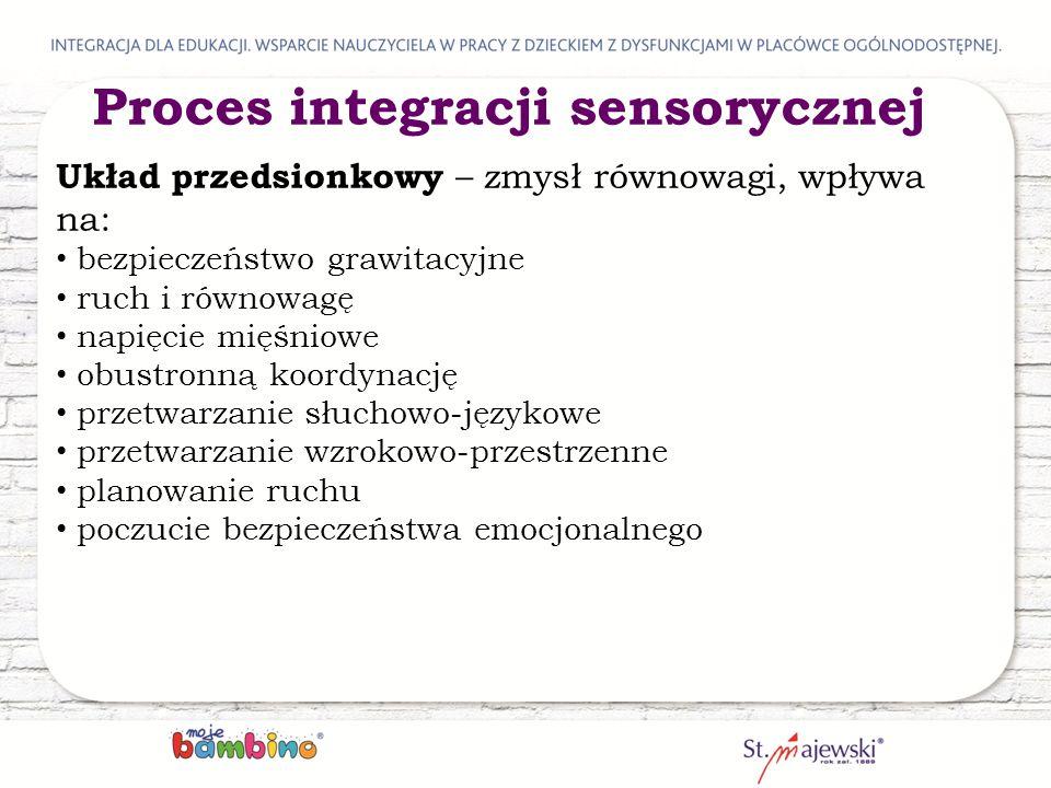 Proces integracji sensorycznej Układ przedsionkowy – zmysł równowagi, wpływa na: bezpieczeństwo grawitacyjne ruch i równowagę napięcie mięśniowe obustronną koordynację przetwarzanie słuchowo-językowe przetwarzanie wzrokowo-przestrzenne planowanie ruchu poczucie bezpieczeństwa emocjonalnego