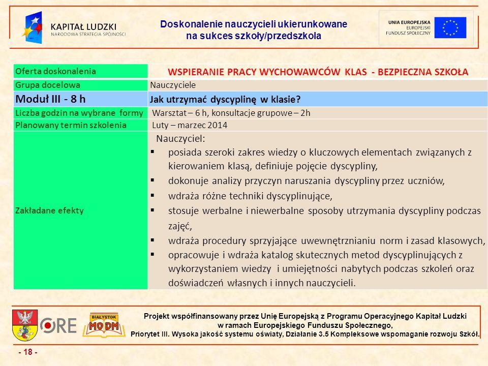 - 18 - Projekt współfinansowany przez Unię Europejską z Programu Operacyjnego Kapitał Ludzki w ramach Europejskiego Funduszu Społecznego, Priorytet III.