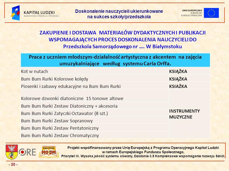 - 20 - Projekt współfinansowany przez Unię Europejską z Programu Operacyjnego Kapitał Ludzki w ramach Europejskiego Funduszu Społecznego, Priorytet III.