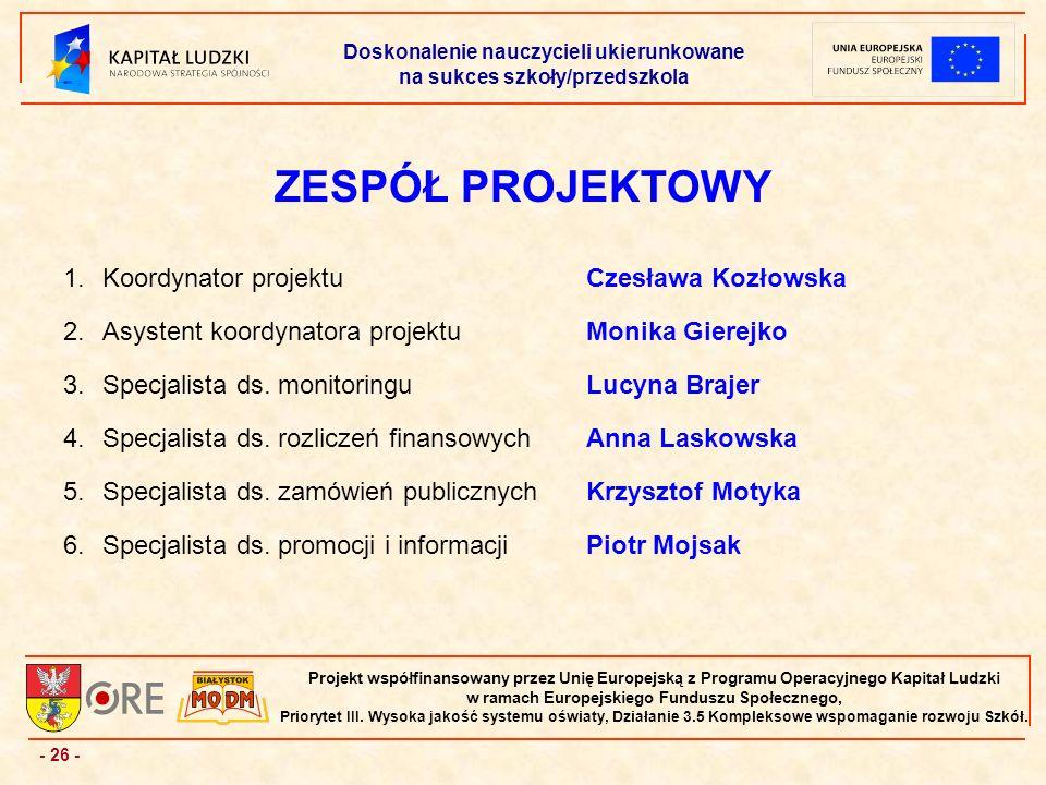 - 26 - Projekt współfinansowany przez Unię Europejską z Programu Operacyjnego Kapitał Ludzki w ramach Europejskiego Funduszu Społecznego, Priorytet III.