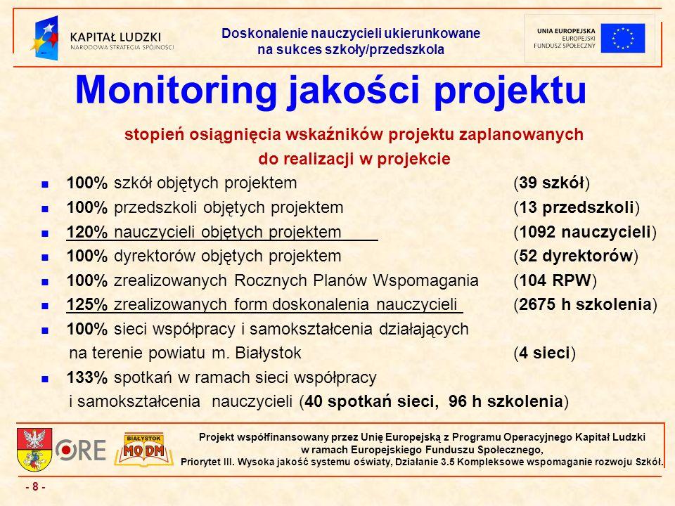 - 8 - Projekt współfinansowany przez Unię Europejską z Programu Operacyjnego Kapitał Ludzki w ramach Europejskiego Funduszu Społecznego, Priorytet III.