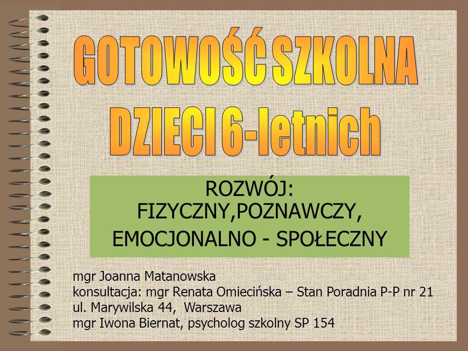 ROZWÓJ: FIZYCZNY,POZNAWCZY, EMOCJONALNO - SPOŁECZNY mgr Joanna Matanowska konsultacja: mgr Renata Omiecińska – Stan Poradnia P-P nr 21 ul.