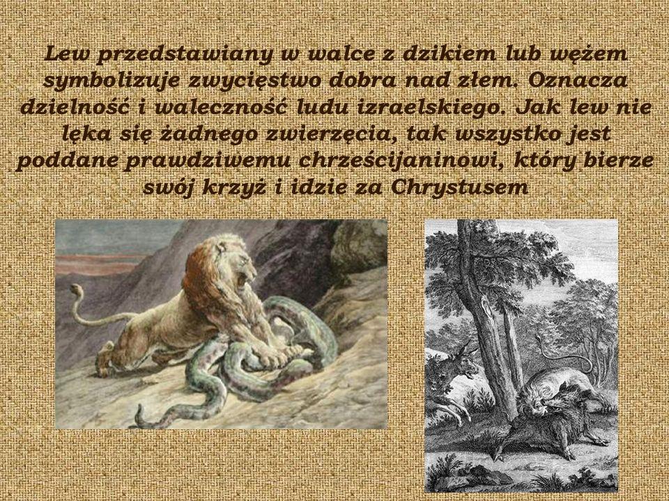 Lew przedstawiany w walce z dzikiem lub wężem symbolizuje zwycięstwo dobra nad złem.