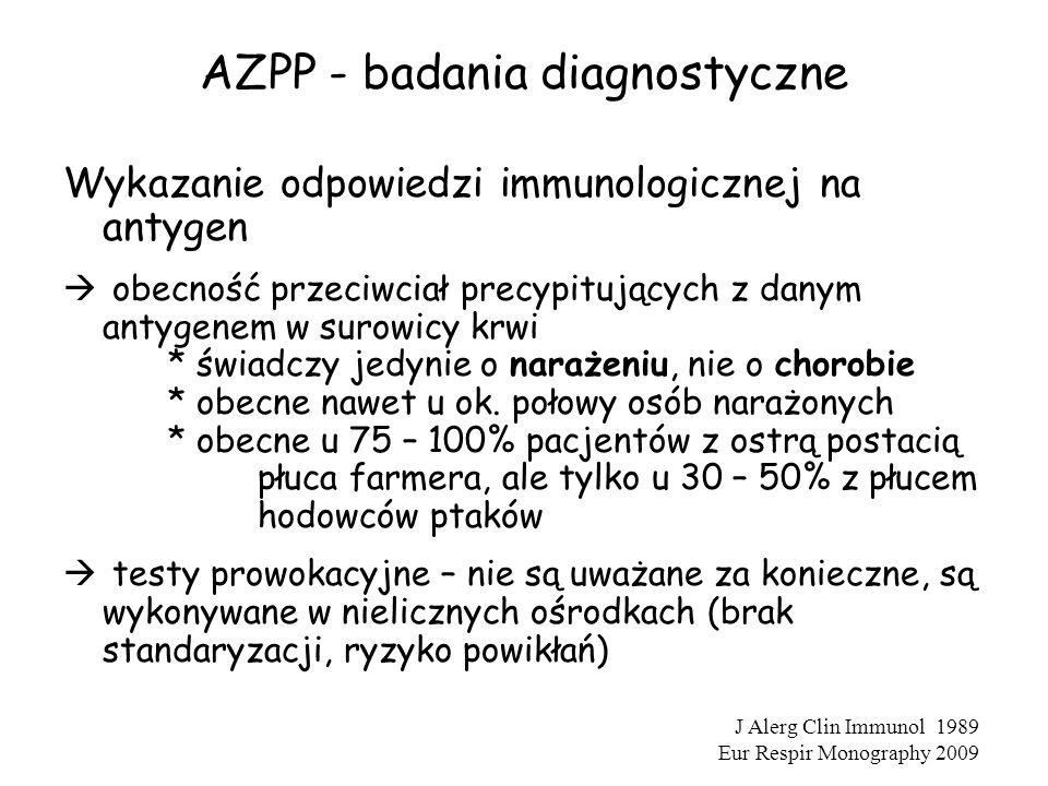 AZPP - badania diagnostyczne Wykazanie odpowiedzi immunologicznej na antygen  obecność przeciwciał precypitujących z danym antygenem w surowicy krwi