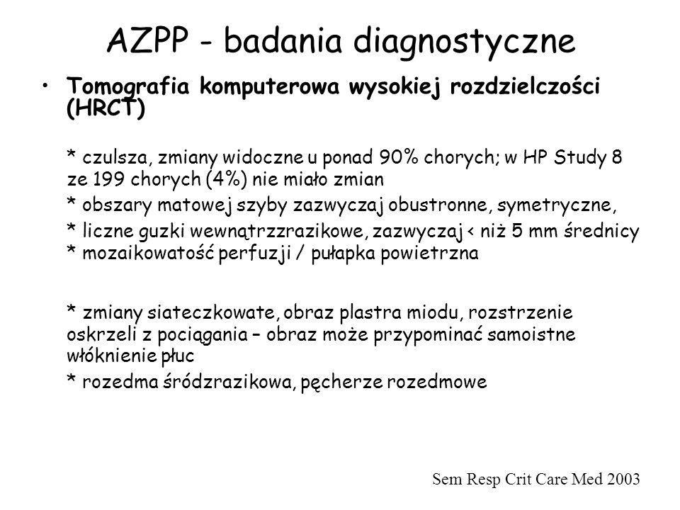 AZPP - badania diagnostyczne Tomografia komputerowa wysokiej rozdzielczości (HRCT) * czulsza, zmiany widoczne u ponad 90% chorych; w HP Study 8 ze 199