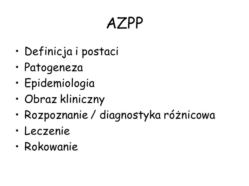 AZPP - badania diagnostyczne Zdjęcie przeglądowe klatki piersiowej: * prawidłowe nawet u 20% chorych z ostrą postacią AZPP (w HP Study 22 ze 199 pacjentów - 11%) * zmiany o charakterze drobnoplamistym i drobnoguzkowym, obszary matowej szyby * zmiany o charakterze siateczki * cechy rozedmy Sem Resp Crit Care Med 2003
