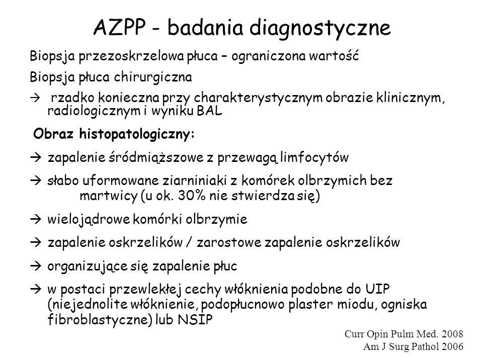 AZPP - badania diagnostyczne Biopsja przezoskrzelowa płuca – ograniczona wartość Biopsja płuca chirurgiczna  rzadko konieczna przy charakterystycznym
