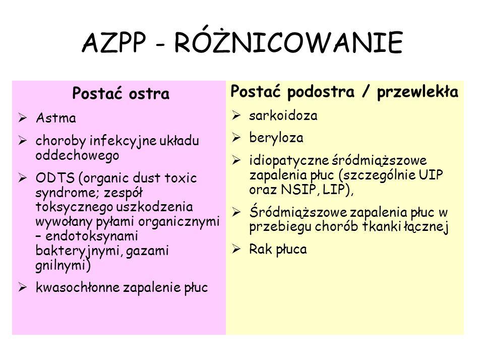 AZPP - RÓŻNICOWANIE Postać ostra  Astma  choroby infekcyjne układu oddechowego  ODTS (organic dust toxic syndrome; zespół toksycznego uszkodzenia w