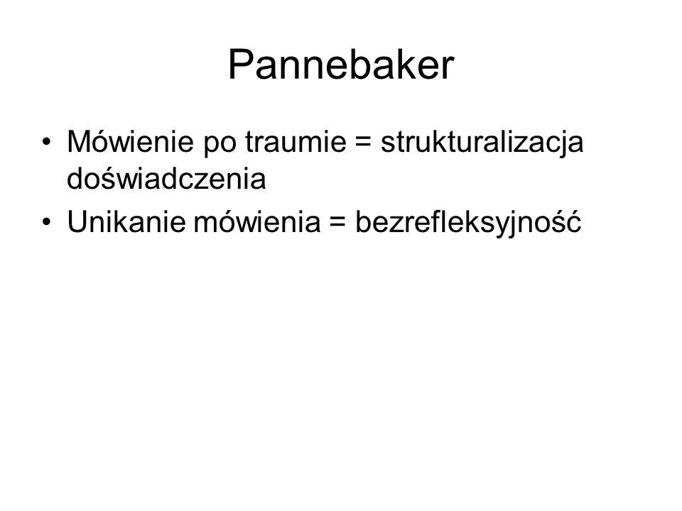 Pannebaker Mówienie po traumie = strukturalizacja doświadczenia Unikanie mówienia = bezrefleksyjność