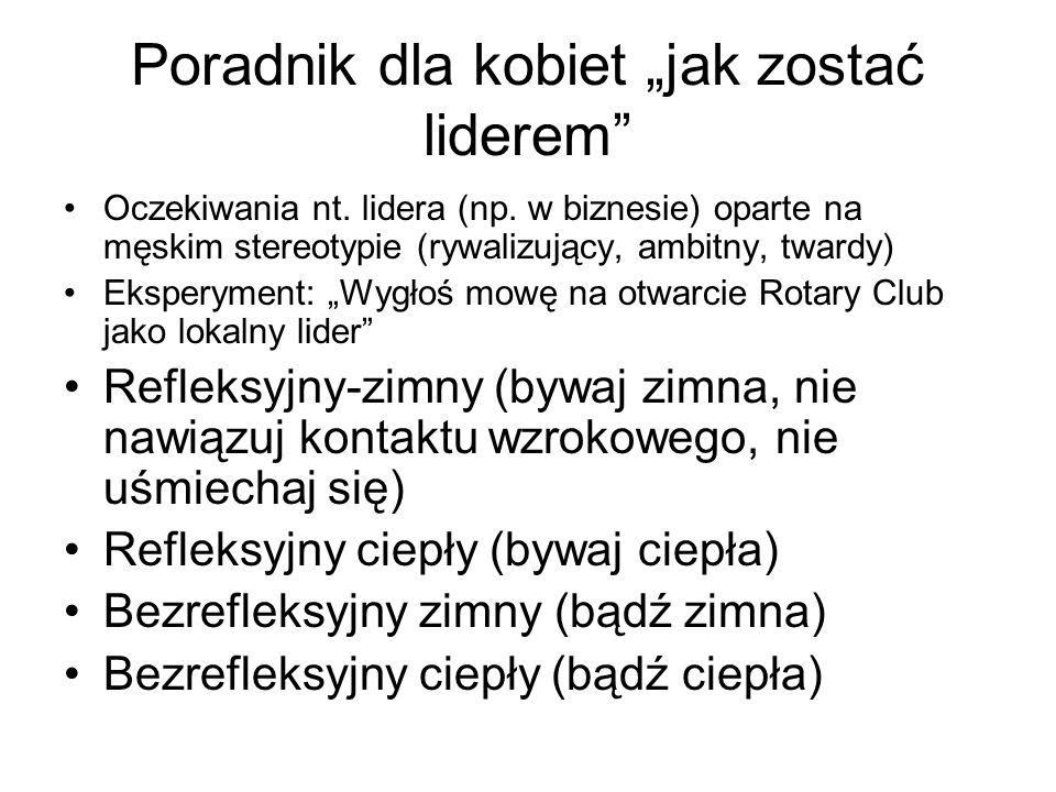 """Poradnik dla kobiet """"jak zostać liderem Oczekiwania nt."""
